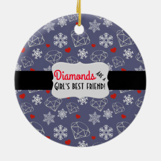 Winter-Edelstein-Diamanten und Schneeflocken Keramik Ornament