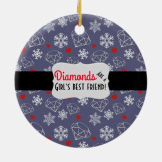 Winter-Edelstein-Diamanten und Schneeflocken Rundes Keramik Ornament