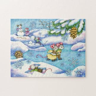 Winter-Eis-Skaten-Mäusepuzzlespiel Puzzle