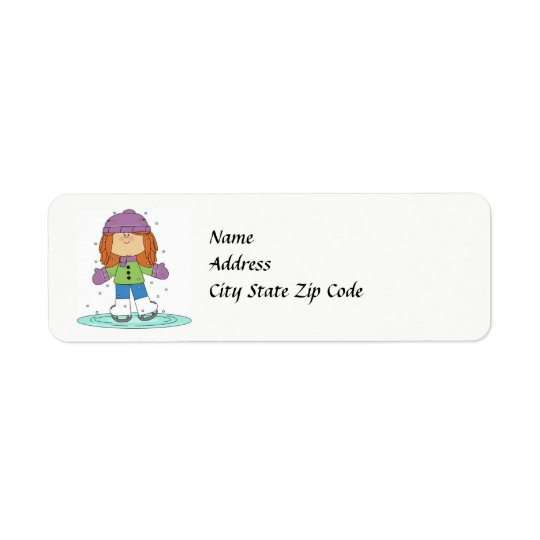 Winter-Eis-Skater-Adressen-Etikett