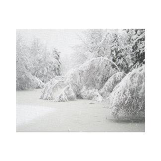 Winter-Eis-Sturm-Wald Leinwanddruck