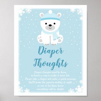 Winter-Eisbär-Windel-Gedanken-Spiel Poster