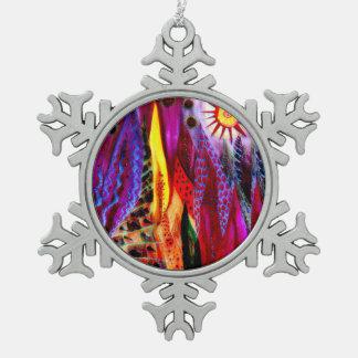 Winter-Flammen Schneeflocken Zinn-Ornament