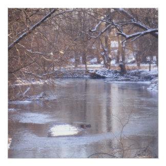 Winter-Fluss Perfektes Poster