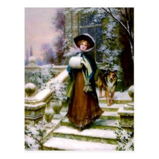 Winter-Frauen-Collie-Hundeviktorianische Handmuffe Postkarte