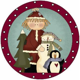 Winter-Freund-Weihnachtsbaum-Verzierung Fotostatue