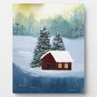 Winter-Frieden gefrorene Fotoplatte