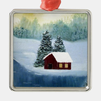 Winter-Frieden gefrorene Silbernes Ornament