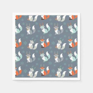 Winter-Füchse mit den Geweihen Papierservietten