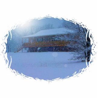 Winter-Gebäude Fotoskulptur Schlüsselanhänger