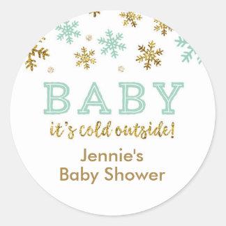 Winter Glitter Snowflake Shower Favor Tag, Mint Runder Aufkleber