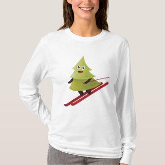 Winter-glückliche Kiefer auf Ski T-Shirt