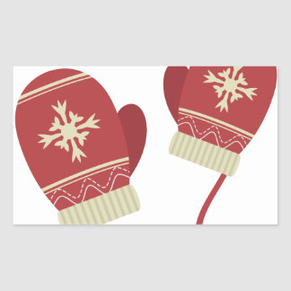 Winter-Handschuhe Rechteckiger Aufkleber