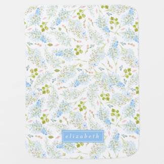 Winter-hellblaues Blumenmuster personalisiert Babydecke