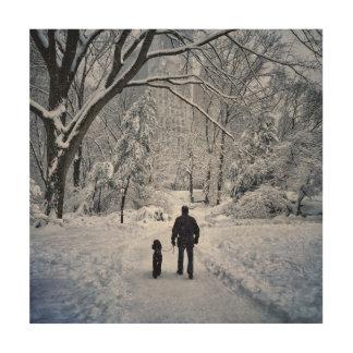Winter-Hundeweg Holzleinwand