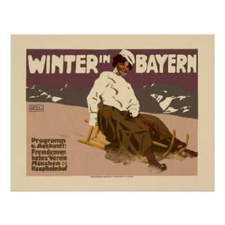 """Winter in Bayern"" Vintages Reise-Plakat Poster"