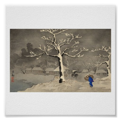 Winter in Japan circa 1915 Plakatdruck