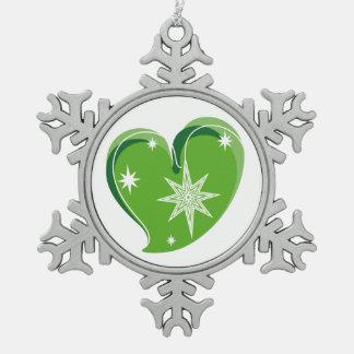 Winter in Liebe-Grünem Schneeflocken Zinn-Ornament
