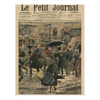 Winter in Paris, das in den Schlamm geht Postkarte