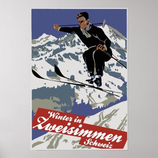 Winter in Zweisimmen, Vintage Skireiseanzeige Poster