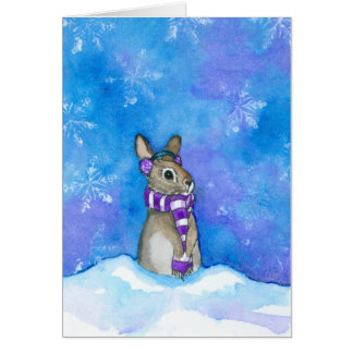 Winter-Kaninchen-Schneeflocken durch Bihrle Karte