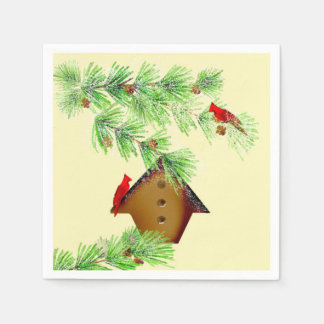 Winter-Kardinals-Papierservietten Serviette
