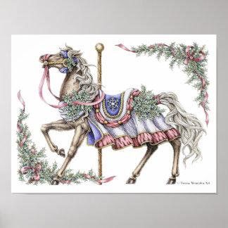 Winter-Karussell-Pferdezeichnendes Federplakat Poster