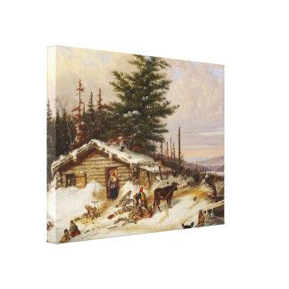 Winter-Klotz-Hauskunst-Leinwanddruck Leinwanddruck
