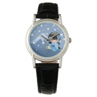 Winter Kokeshi Puppe - blaues Armbanduhr