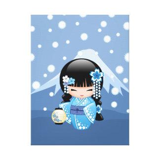 Winter Kokeshi Puppe - blaues Leinwanddruck