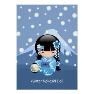 Winter Kokeshi Puppe - blaues Poster