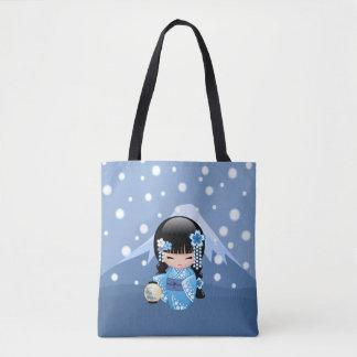 Winter Kokeshi Puppe - blaues Tasche