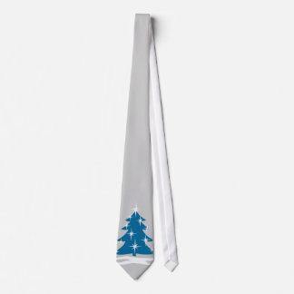 Winter-Krawatten-blaue Weihnachtsbaum-festliche Fe Bedruckte Krawatte