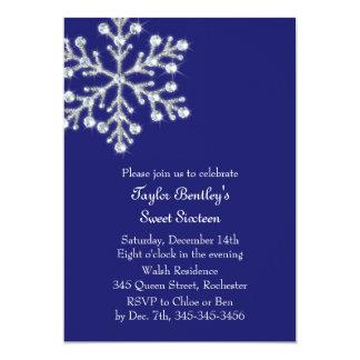 Winter-Kristallbonbon-16. Geburtstag laden Indigo 12,7 X 17,8 Cm Einladungskarte