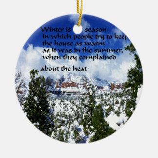 Winter-Landschaft in Sedona Arizona Rundes Keramik Ornament
