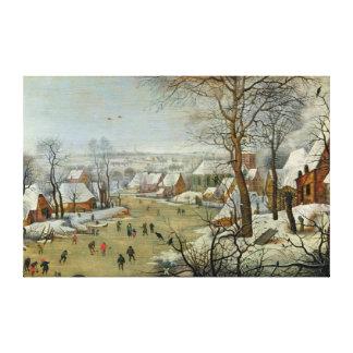 Winter-Landschaft mit Skatern und einer Vogel-Fall Leinwanddruck