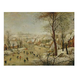 Winter-Landschaft mit Vogel-Falle (Öl auf Platte) Postkarte