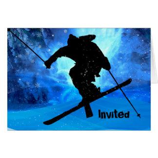 Winter-Landschaft und Freistil-Skifahrer Karte