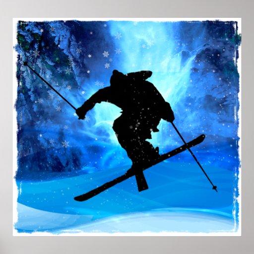Winter-Landschaft und Freistil-Skifahrer Poster