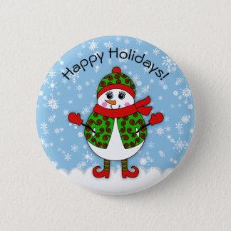 Winter-launische Dame Snowman frohe Feiertage Runder Button 5,1 Cm