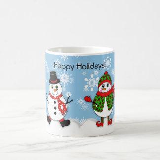 Winter-launische Schneemann-Paare Kaffeetasse