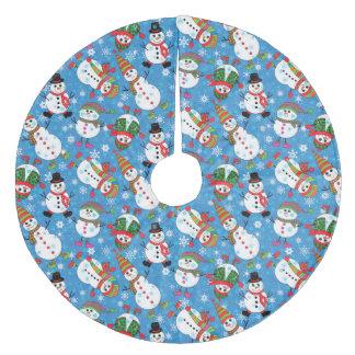 Winter-launischer Schneemann Fleece Weihnachtsbaumdecke