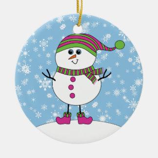 Winter-launischer Schneemann-frohe Weihnachten Rundes Keramik Ornament
