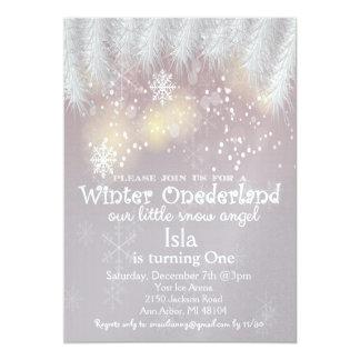Winter-Märchenland-1. Geburtstags-Einladung Karte