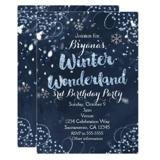 Winter-Märchenland-blaue elegante Party 12,7 X 17,8 Cm Einladungskarte
