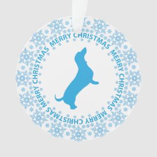 Winter-Märchenland-blaue u. weiße Ornament