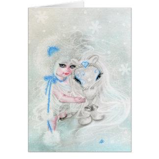 Winter-Märchenland   Chibi Mädchen-Pony-Gruß-Karte Karte