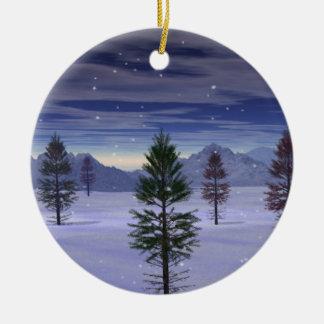 """Winter-Märchenland-"" Doppeltes versah mit Seiten Keramik Ornament"
