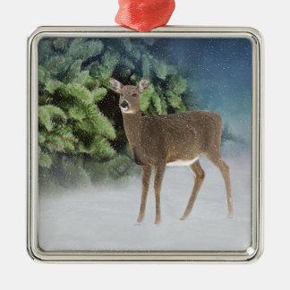 Winter-Märchenland Quadratisches Silberfarbenes Ornament