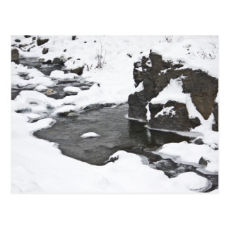 Winter-Märchenland-Schnee-Fluss Postkarte